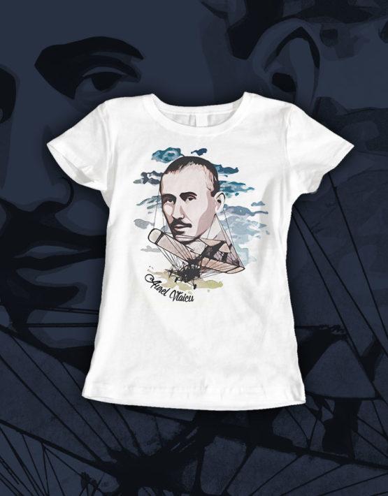 tricou-alb-dama-Aurel-Vlaicu